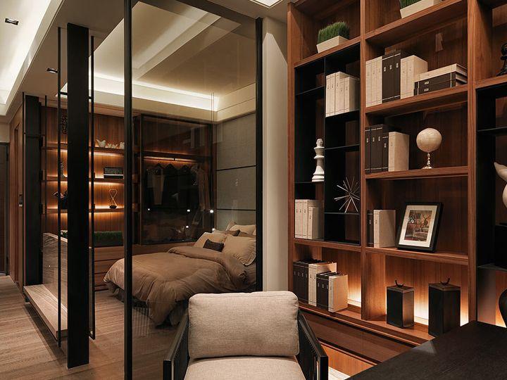 时尚现代书房卧室玻璃隔断装修效果图