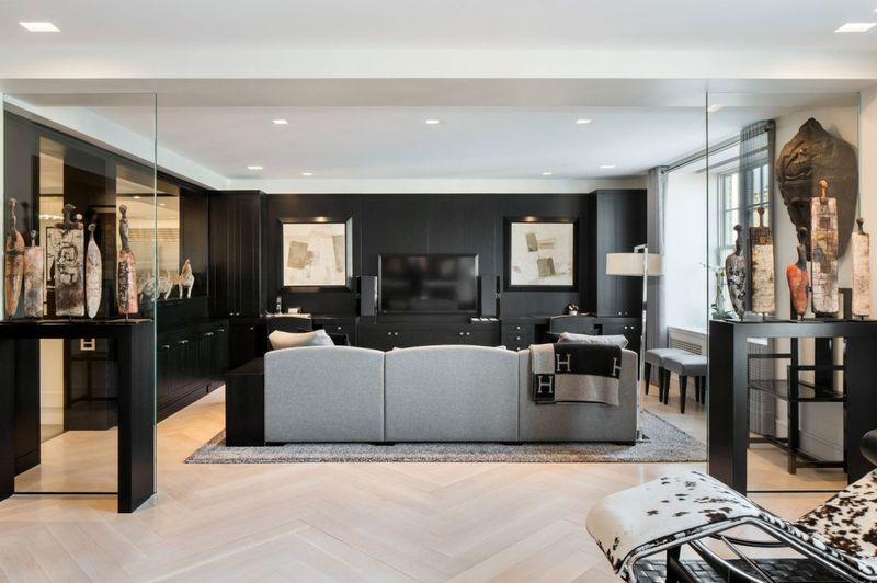 黑色美式风格公寓客厅电视背景墙装修效果图