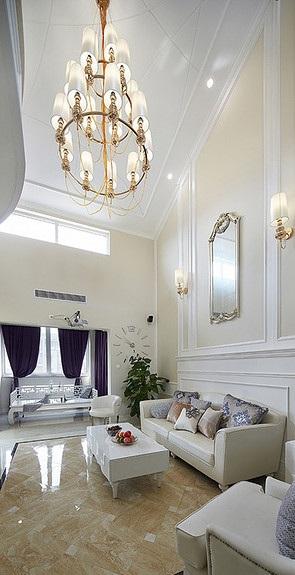 奢华大气简欧复式客厅家居装修大全
