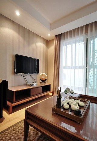 简约现代中式客厅实木电视柜效果图
