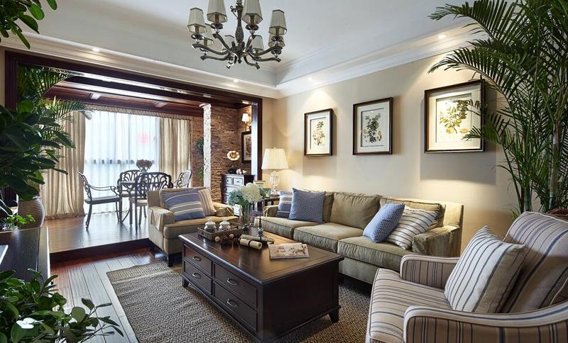 复古美式风格客厅背景照片墙装饰图片