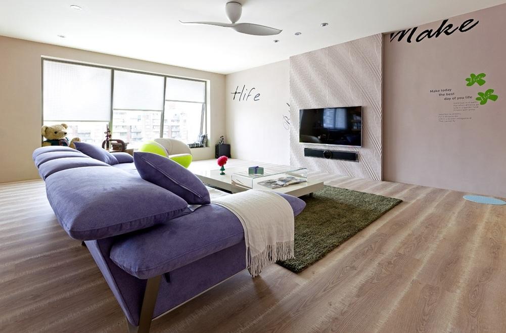 浪漫现代简约设计客厅背景墙装修图片