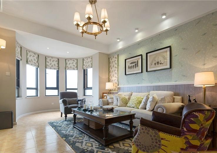 美式公寓精装客厅样板房欣赏