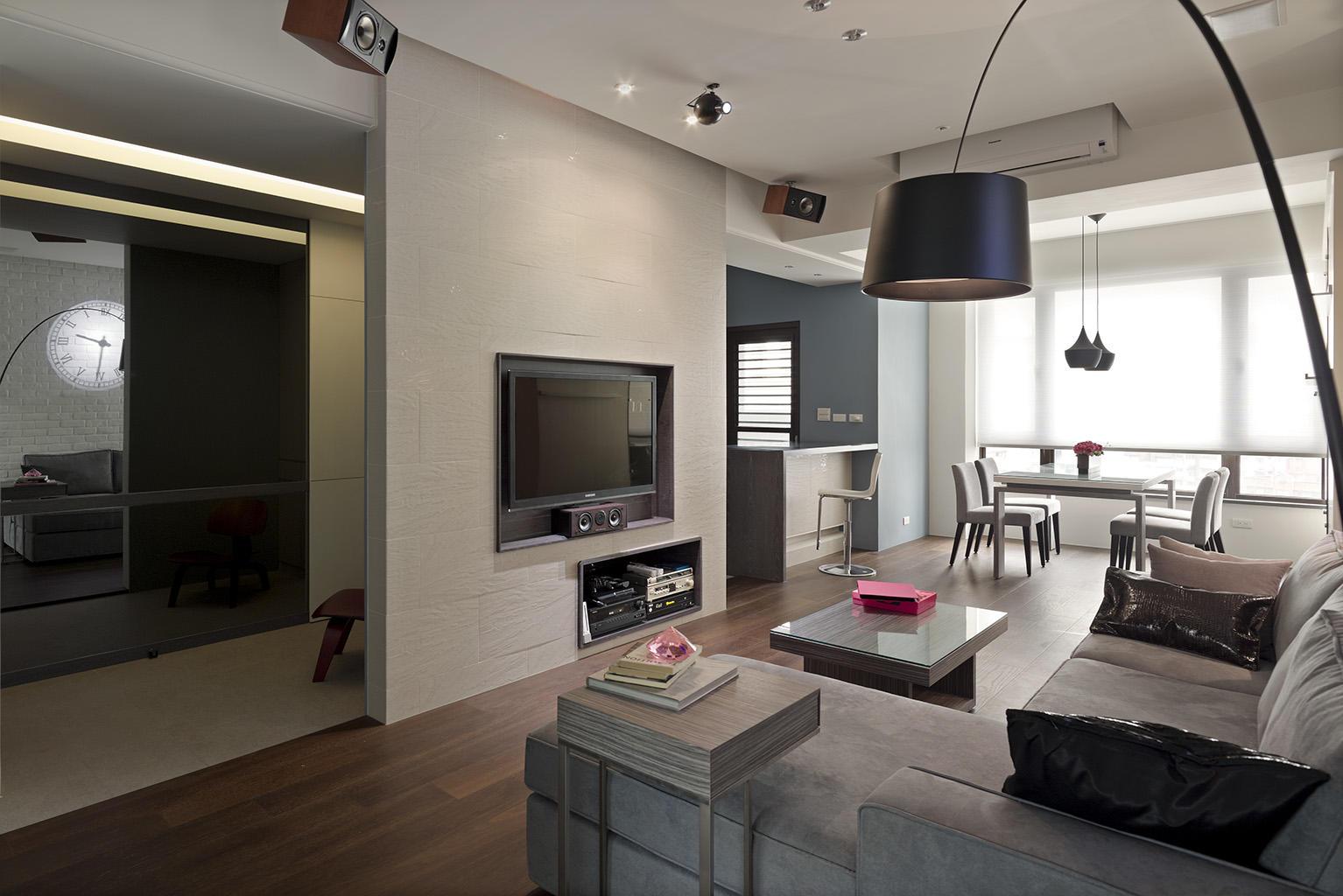 时尚简约家装客厅电视背景墙隔断设计