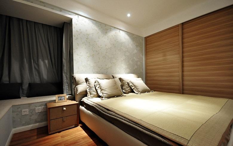 清新禅风简中式风格卧室移门衣柜布置效果图