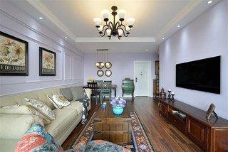 美式风格淡紫色二居室装饰效果图