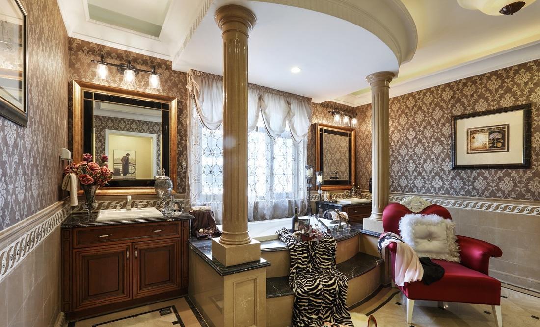 豪华欧式古典风格别墅卫生间柱式设计装修效果图