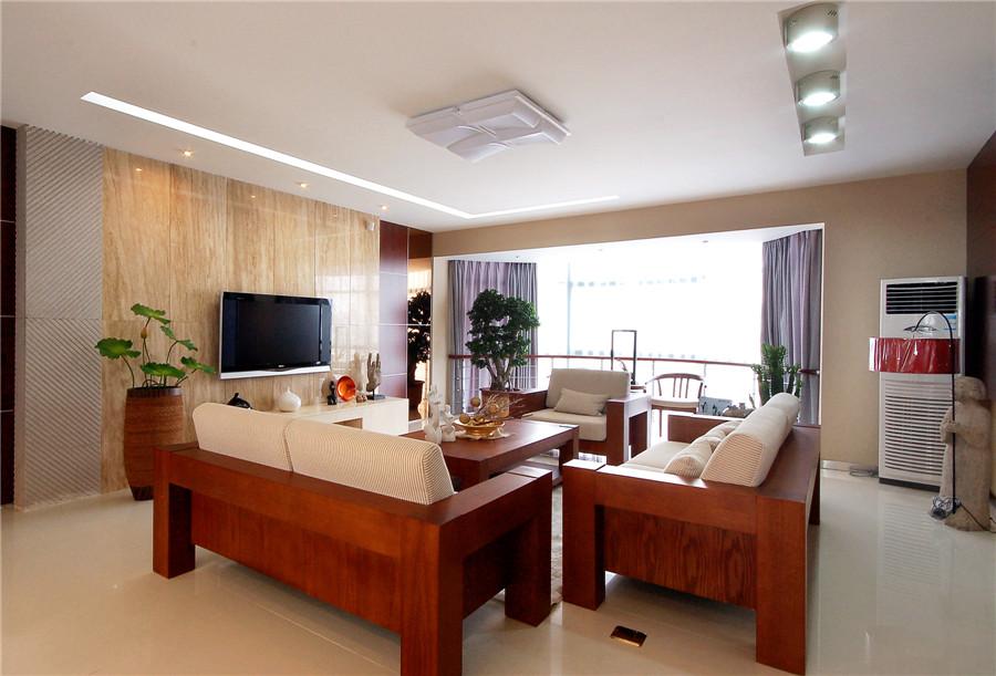 儒雅简中式风格客厅红木沙发装饰效果图