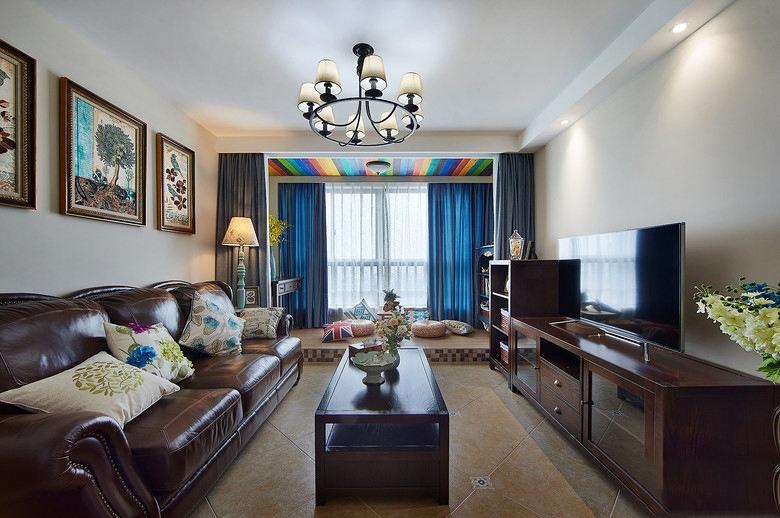 复古美式家装客厅咖色系家具装饰图片
