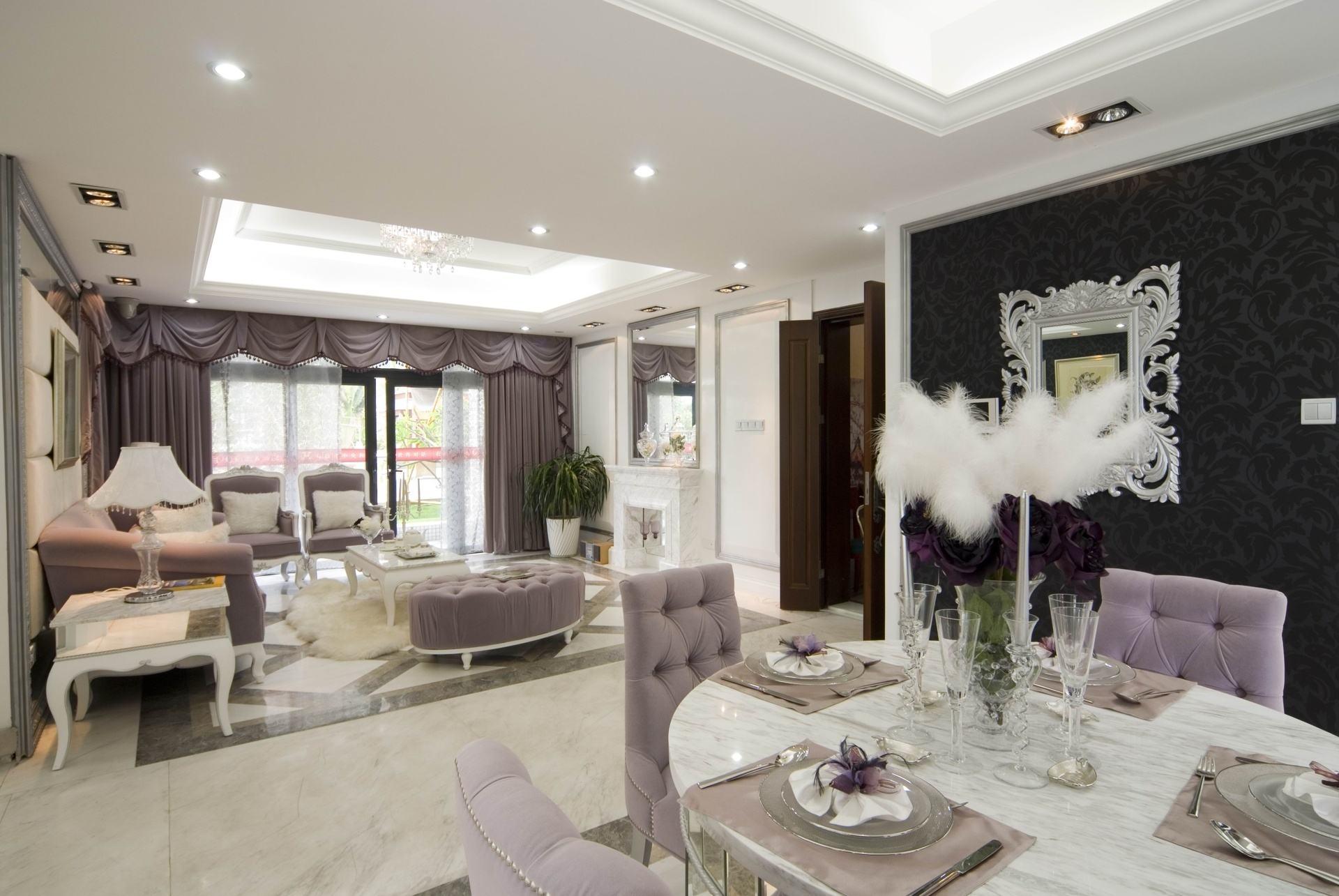 时尚奢华简欧风格客餐厅背景墙家装