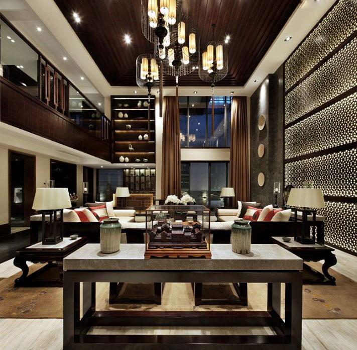 奢华时尚新中式别墅客厅装潢效果图