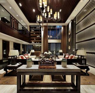 超奢华大气沉稳新中式别墅装潢效果图