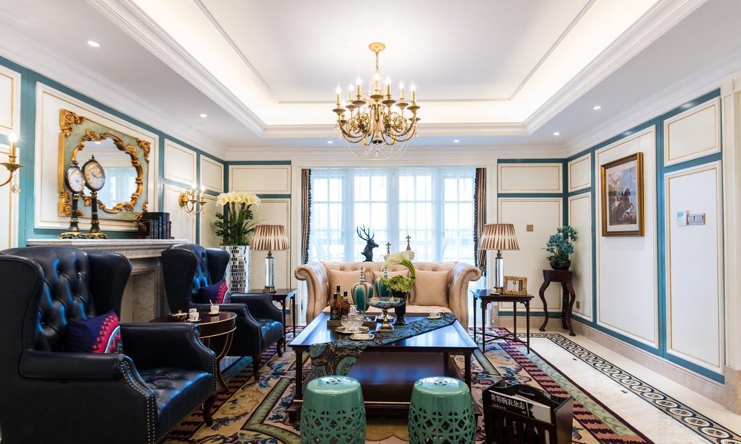 蓝色点缀法式田园三室两厅家装效果欣赏图