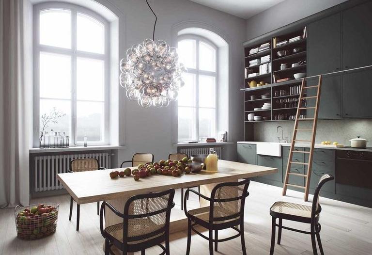 精致简欧复式室内厨房餐厅效果图