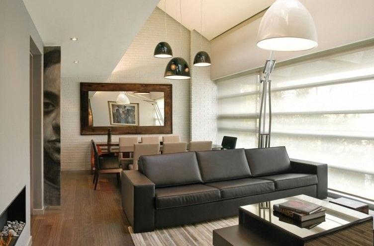 雅致后现代风客厅真皮沙发效果图欣赏