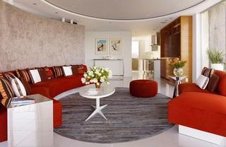 浪漫时尚现代家装二居室弧形海景房设计效果图