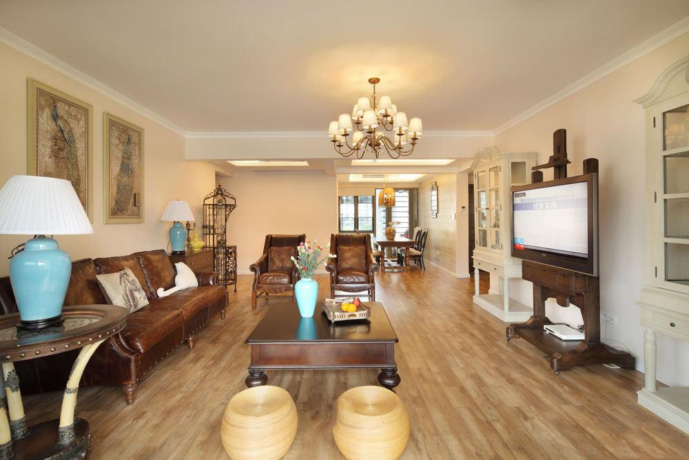 舒适复古美式客厅实木家具效果图