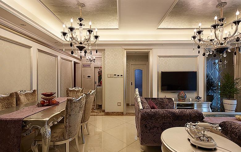 华丽高雅欧式风格二居室内设计装饰图