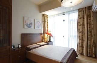 咖色简约新中式卧室设计效果图