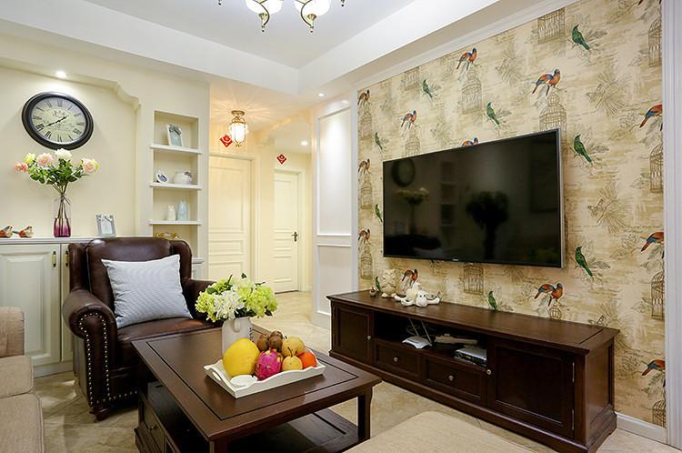 美式田园风壁纸电视背景墙设计