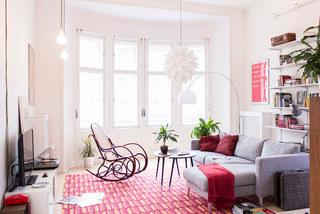 粉色北欧风格二居室装修设计效果图