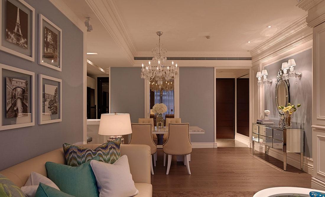 蓝色唯美简欧风格家居软装装饰效果图