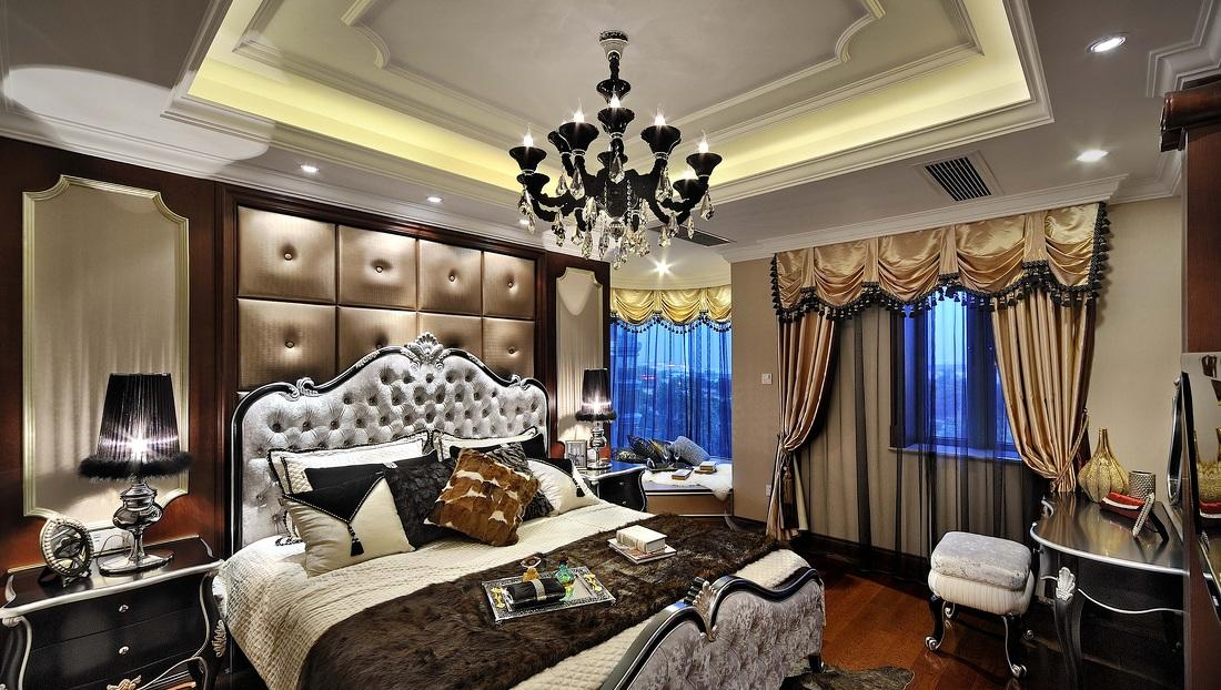 奢华欧式家装卧室软包背景墙欣赏