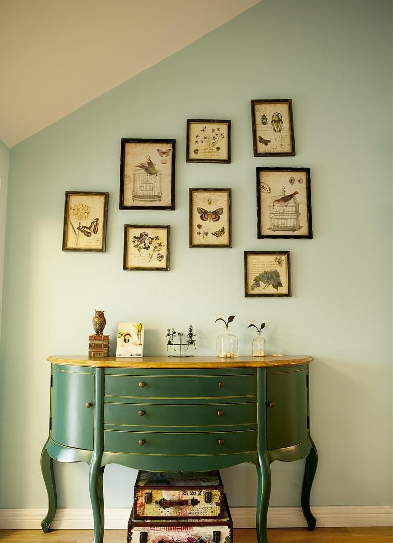 清新现代复古中式风格家装照片墙装饰效果图