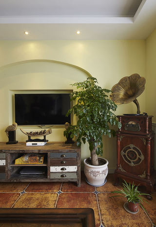 复古实木美式地中海风格三室装修图片