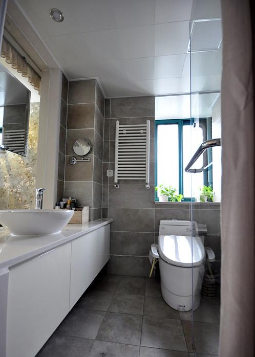 现代中式风格家装卫生间洗手台设计
