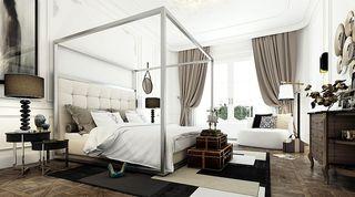 冷金属新古典别墅卧室设计装潢效果图