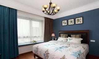 深蓝色美式经典卧室背景墙案例