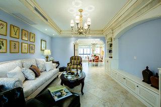 蓝色唯美美式三居室内家装装修效果图