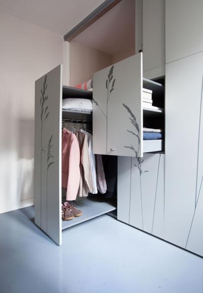 时尚简约现代设计多功能推拉衣柜效果图设计