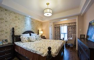 碎花田园风光美式卧室隔断设计效果图