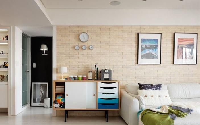 简约家居一居室客厅背景墙装饰效果图