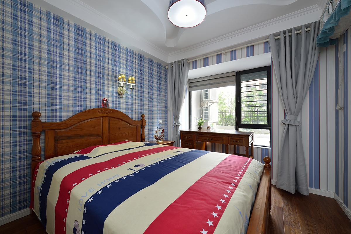 蓝色布艺美式乡村风格卧室设计装饰效果图