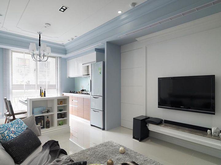 蓝白简约小户型室内装修图片