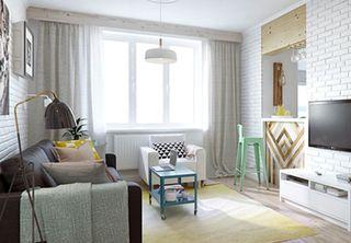 甜美小清新北欧风一居室小户型效果图
