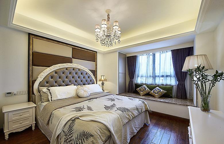 华丽简欧风格卧室飘窗设计装潢图