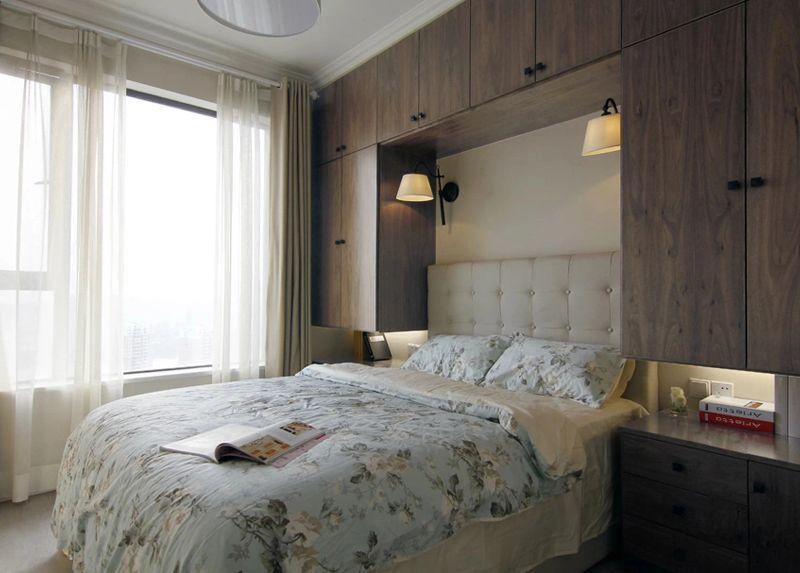 简约休闲美式风格卧室床头订制衣柜效果图