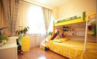 黄色系活泼简约儿童房设计
