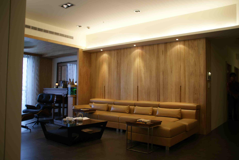 简约中式风格客厅实木沙发背景墙设计