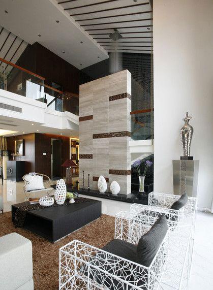 色彩鲜明摩登新中式风格别墅室内设计装修图片