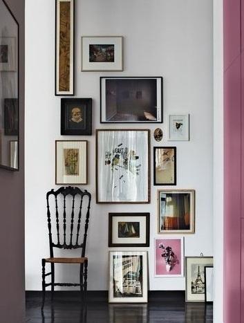 简欧风格家居室内相片墙装饰效果图