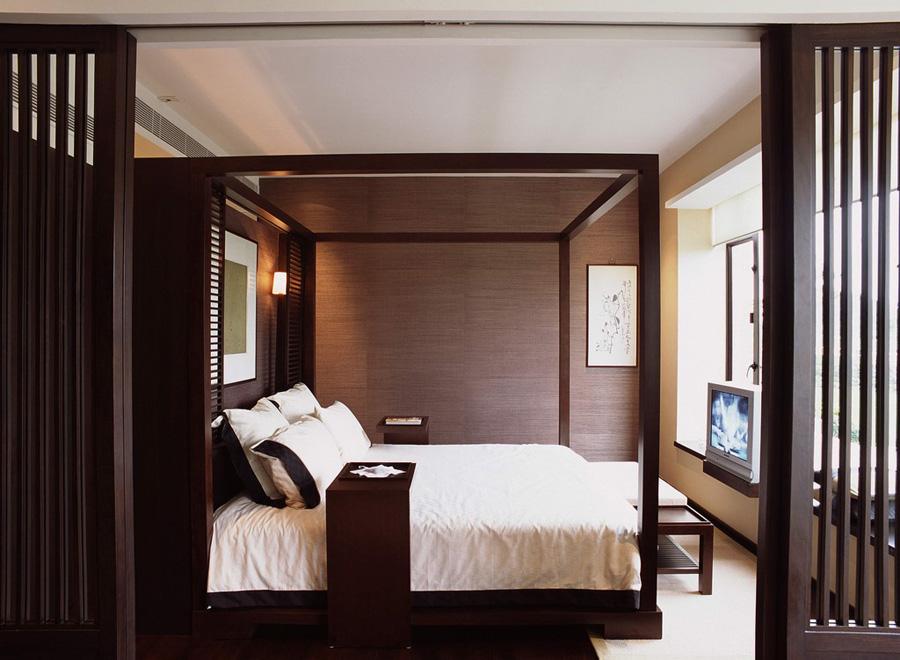 沉稳大气新中式卧室隔断装饰效果图