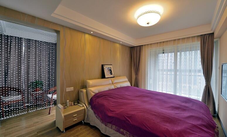 时尚现代家装卧室珠帘隔断设计效果图