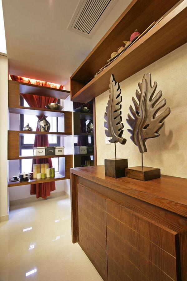 简中式设计风格玄关柜装饰效果图