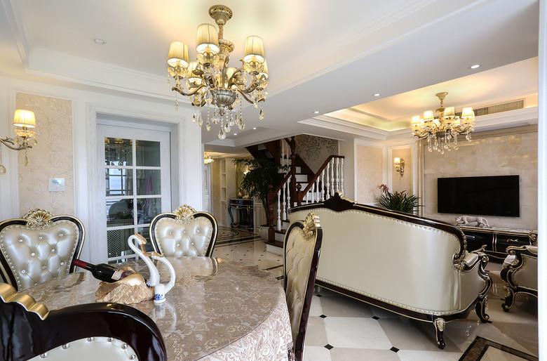 高贵优雅欧式装修风格复式家装隔断效果图