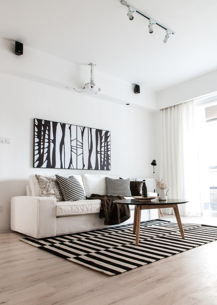 黑白简约北欧客厅设计装修效果图